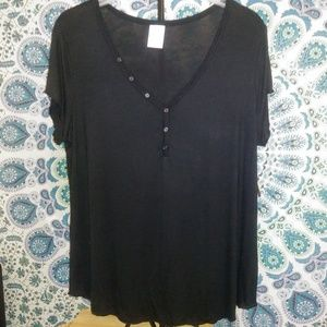 comfy button everyday black top blouse NWT XL 3/15